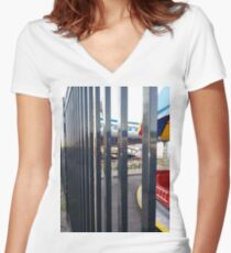 Fence, metal fence Women's Fitted V-Neck T-Shirt