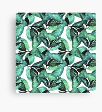 Watercolor Leaves Pattern Canvas Print