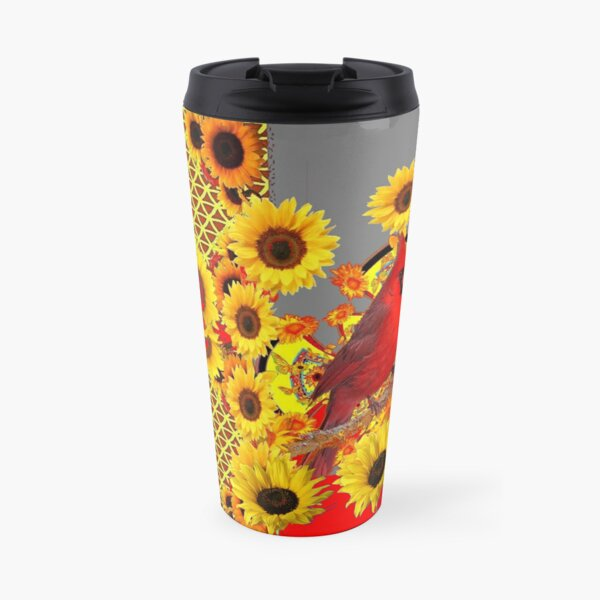 RED CARDINAL YELLOW SUNFLOWERS GREY ART  Travel Mug