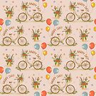 Bicycles on a pink background by Elsbet