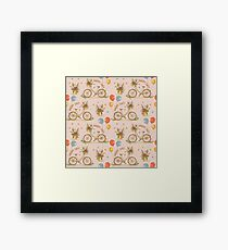 Bicycles on a pink background Framed Print