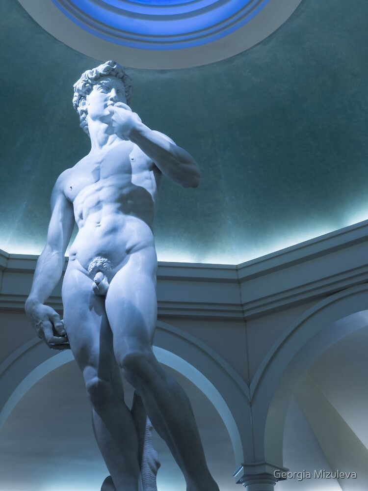 Nude Perfection - Michelangelos David Under A Blue Oculus by GeorgiaM