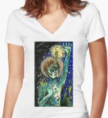 cordyceps saint Women's Fitted V-Neck T-Shirt