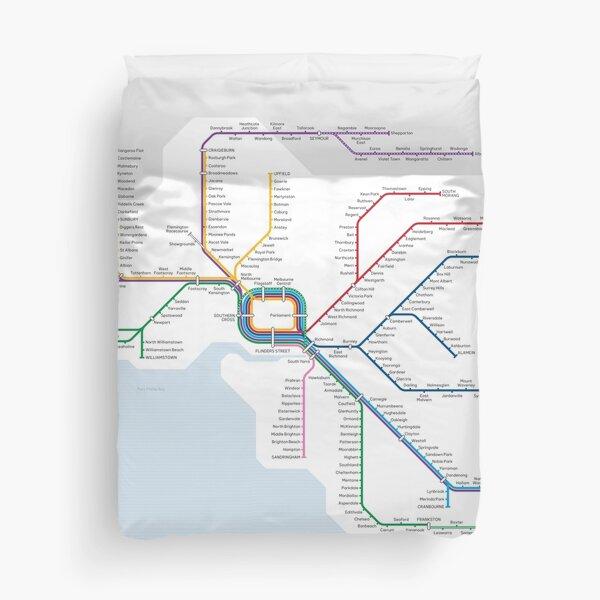 Victorian Train Network Map Duvet Cover