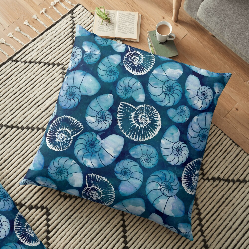 Nautilus fossils in sapphire blue Floor Pillow