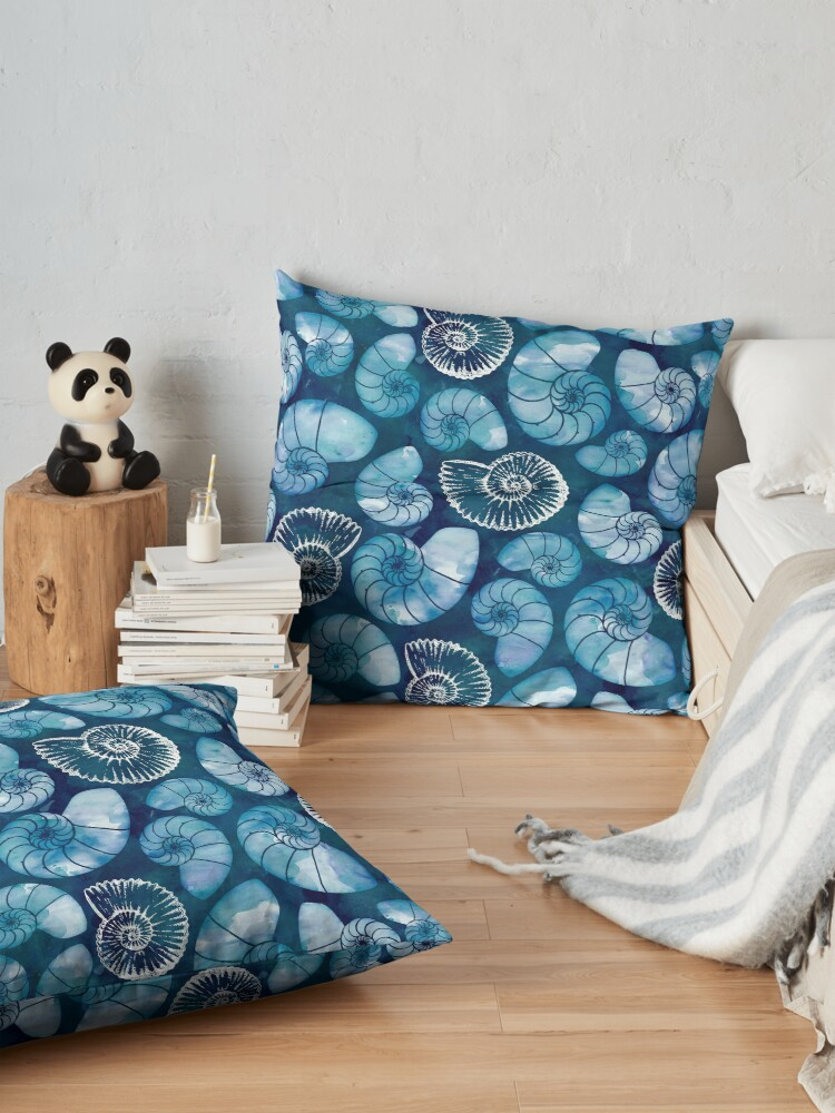 Alternate view of Nautilus fossils in sapphire blue Floor Pillow