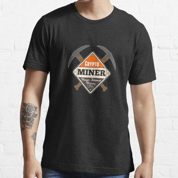 Crypto Miner Placard with Pick Axes Essential T-Shirt