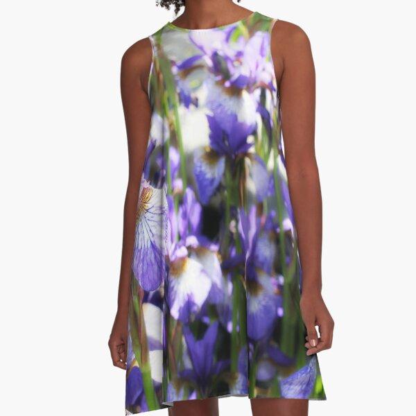Purple Irises A-Line Dress