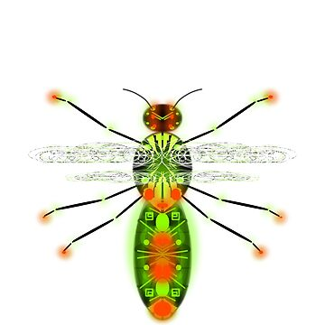 Insect Flying science fiction - version3 glowing green orange black by M-Lorentsson