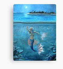 Mermaid collecting moonlight. Canvas Print