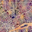 Detroit Michigan City Map by Michael Tompsett