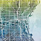 Milwaukee Wisconsin City Map by Michael Tompsett
