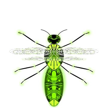 Insect robot flying version4 green glowing by M-Lorentsson