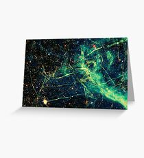 Cool Green Yellow And Black Universe - Space Design Greeting Card