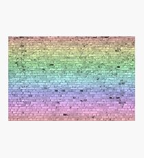 Light Pastel Rainbow Color Brick Wall Photographic Print
