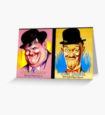 LAUREL and HARDY; Vintage Comedy Team Print Greeting Card