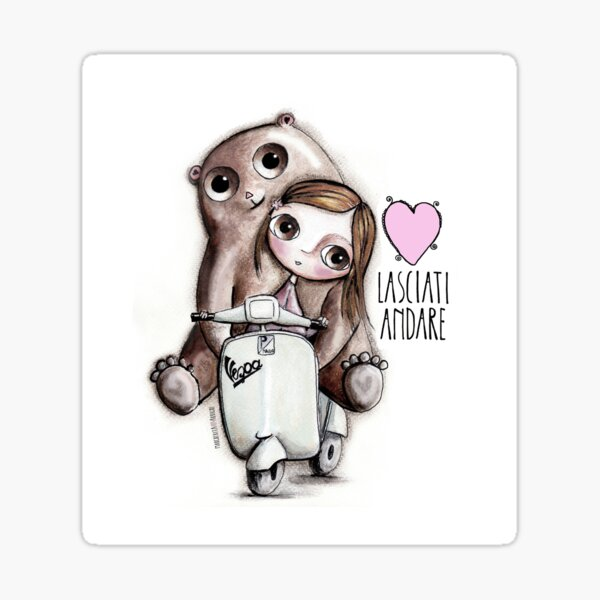 The doll and the bear with big eyes on Vespa, art Margherita Arrighi Sticker