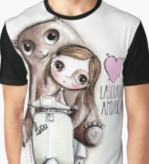 The doll and the bear with big eyes on Vespa, art Margherita Arrighi Graphic T-Shirt