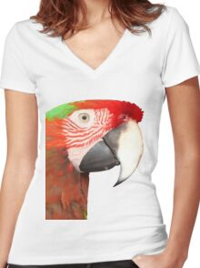 A Beautiful Bird Harlequin Macaw Portrait Background Removed Women's Fitted V-Neck T-Shirt