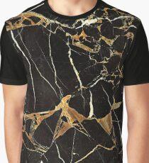 Black And Gold Marble - Cool Dark Elegant Glamour Design Graphic T-Shirt