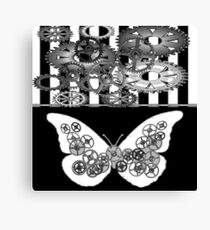 BLACK & WHITE CLOCKWORK BUTTERFLY ABSTRACT  Canvas Print