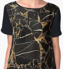 Elegant Gold Marble - Black Marble Chiffon Top