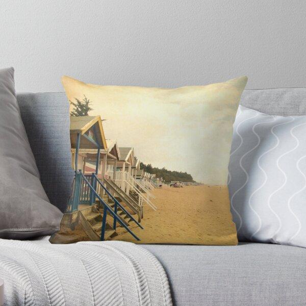 Row of Beach Huts Throw Pillow