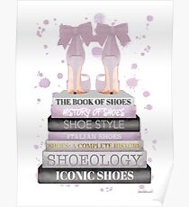 Fashion books with bow shoes watercolor in Lavender by Amanda Greenwood Poster