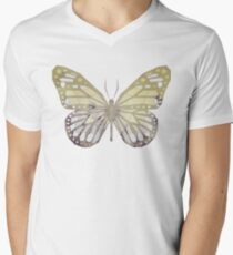 Low Poly Double Exposure Butterfly Men's V-Neck T-Shirt