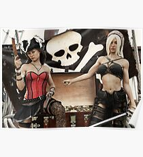 Pirate plunder. Two pirate females showing off there looted treasure of gold coins. Poster