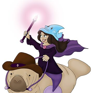 Mermaid Wizard & Cowboy Manatee by Zahmbei