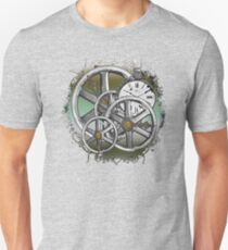 Gears and Time in Green and Bronze Slim Fit T-Shirt