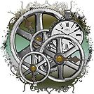Gears and Time in Green and Bronze by RetroArtFactory