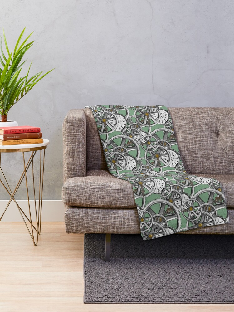 Alternate view of Gears and Time in Green and Bronze Throw Blanket