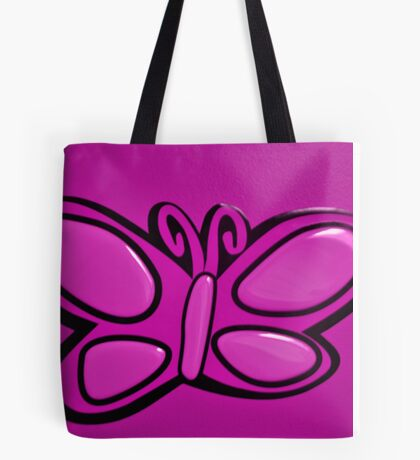 Pink Butterflie On Wall Tote Bag