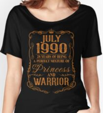 July 1990 28 years of being a perfect mixture of princess and warrior Women's Relaxed Fit T-Shirt