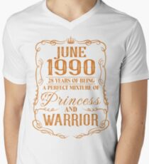 June 1990 28 years of being a perfect mixture of princess and warrior Men's V-Neck T-Shirt