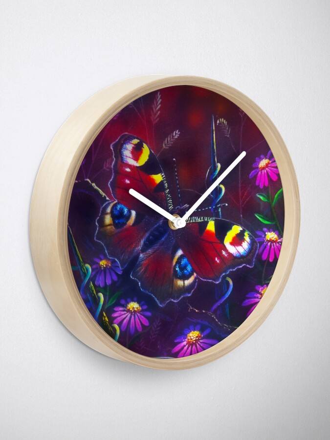 Alternate view of Peacock Butterfly Clock