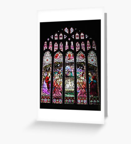 Christmas Nativity Stained Glass Window Greeting Card