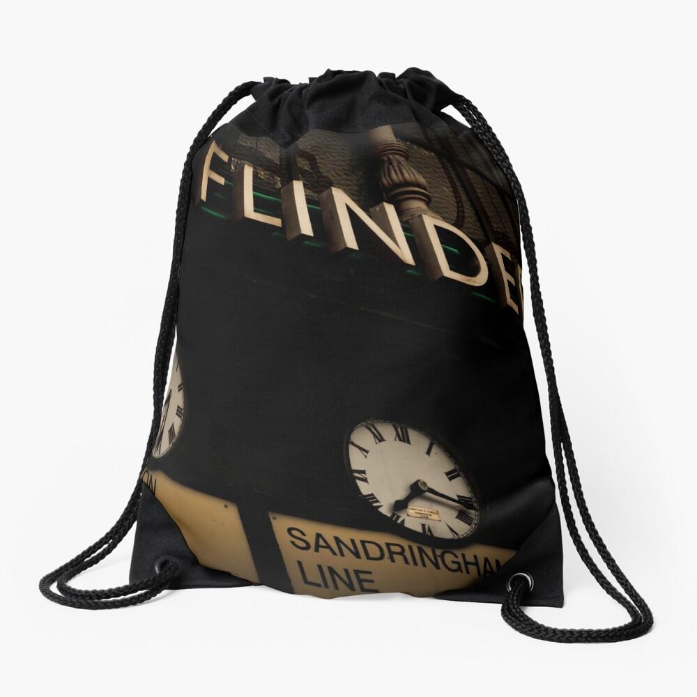 Flinders st station clocks Drawstring Bag