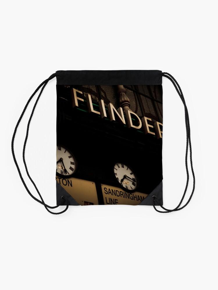 Alternate view of Flinders st station clocks Drawstring Bag