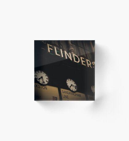 Flinders st station clocks Acrylic Block