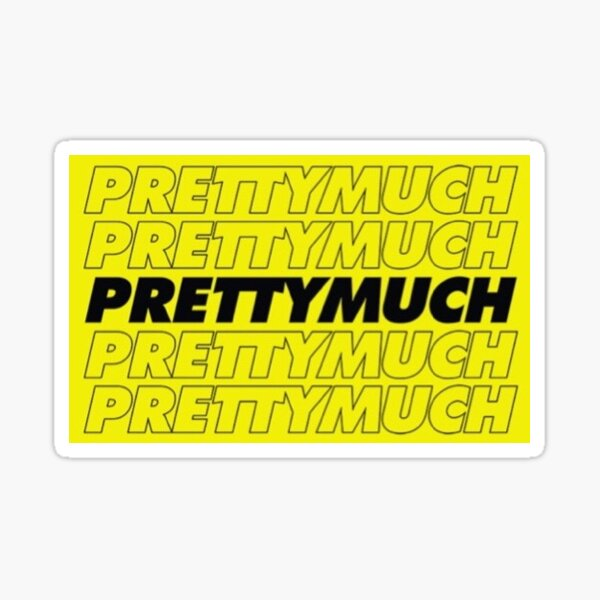 PRETTYMUCH LOGO YELLOW & WHITE  Sticker