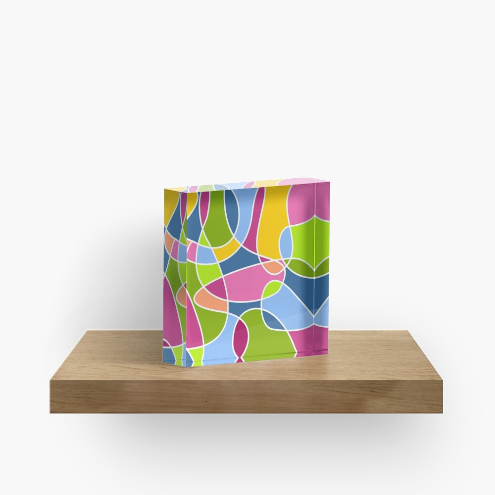 Ultra cool bold and bright scribble pattern Acrylic Block