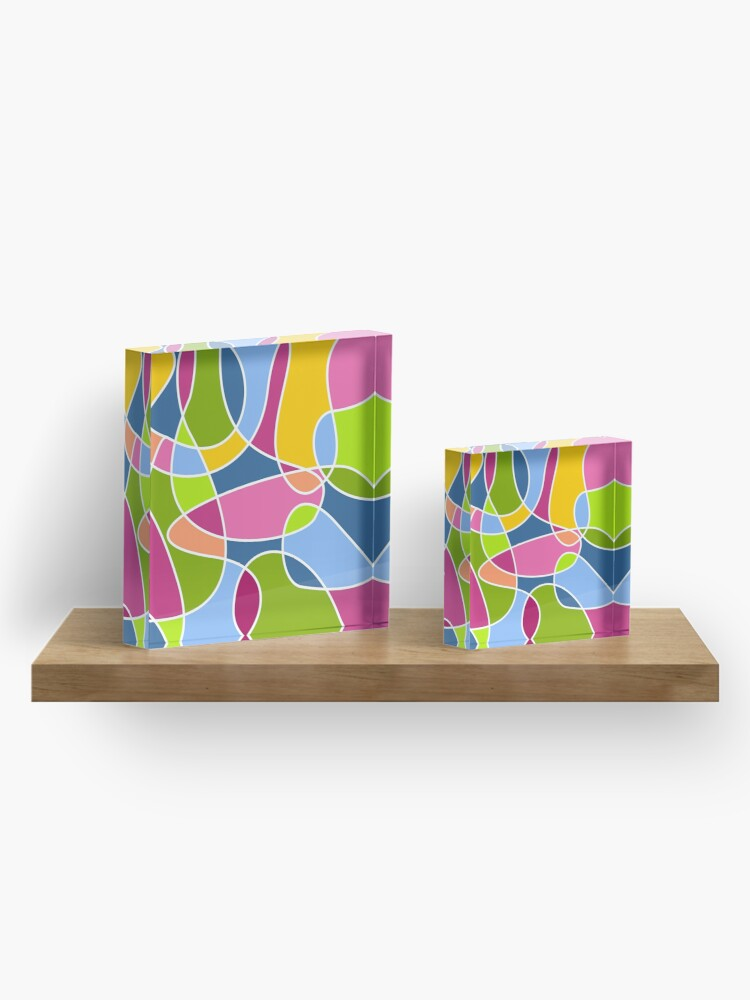 Alternate view of Ultra cool bold and bright scribble pattern Acrylic Block