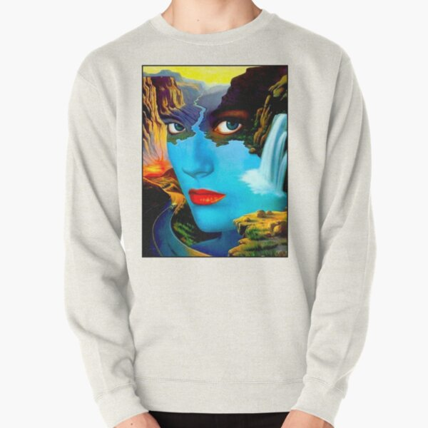 STRESS : Vintage Surreal Abstract Psychedelic Print Pullover Sweatshirt