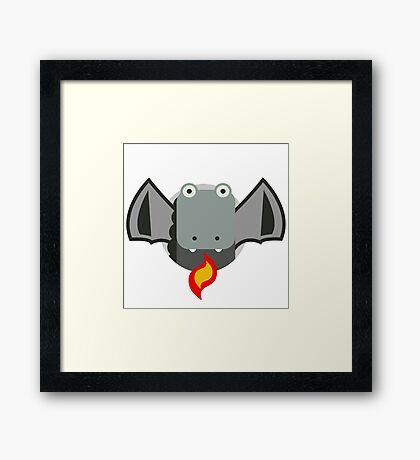 Cute Dragon Grey Framed Print
