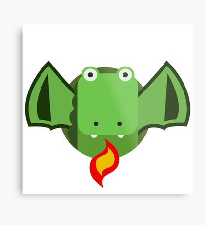 Cute Dragon Green Metal Print