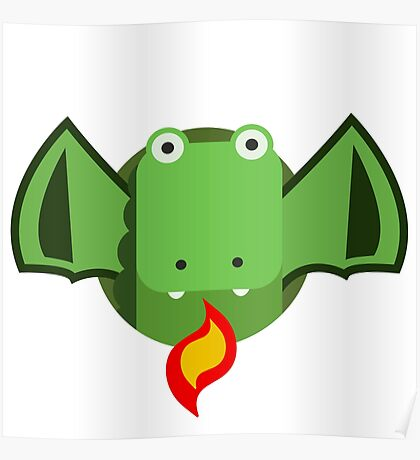 Cute Dragon Green Poster