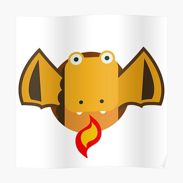 Cute Dragon Orange Poster